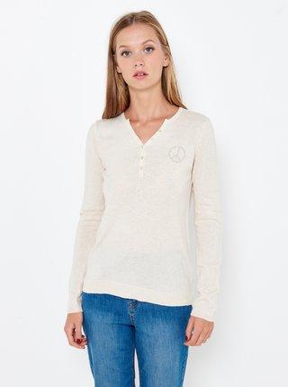 Krémový ľahký sveter s nápisom na chrbte CAMAIEU