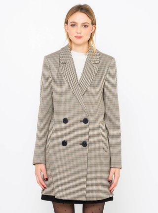 Světle šedý kostkovaný kabát CAMAIEU