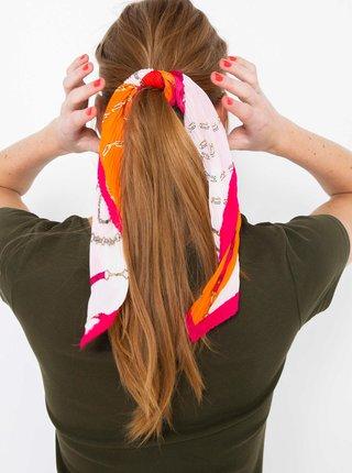 Oranžovo-bílý plisovaný šátek CAMAIEU