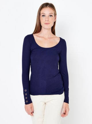 Tmavě modré žebrované tričko CAMAIEU
