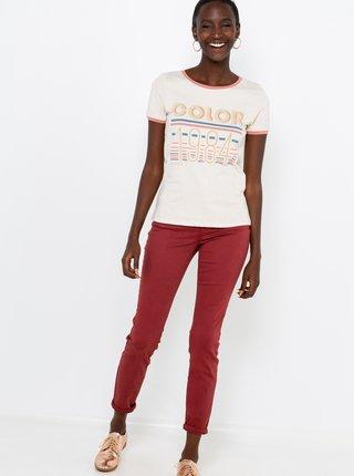 Tričká s krátkym rukávom pre ženy CAMAIEU - krémová