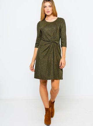 Tmavozelené šaty s 3/4 rukávom CAMAIEU