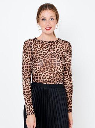 Hnědé průhledné tričko s leopardím vzorem CAMAIEU