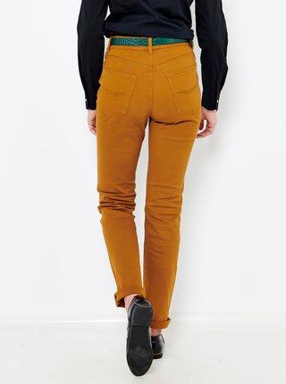 Hořčicové straight fit džíny s vysokým pasem CAMAIEU