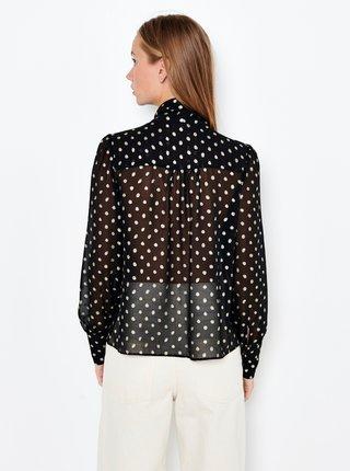 Černá puntíkovaná průsvitná košile CAMAIEU