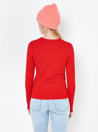 Červený žebrovaný lehký svetr CAMAIEU