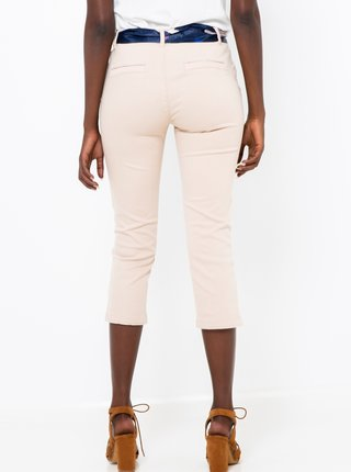 Krémové 3/4 kalhoty s páskem CAMAIEU