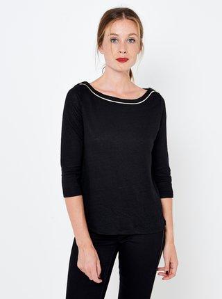 Černé lněné tričko CAMAIEU