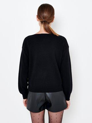 Černý lněný svetr s příměsí kašmíru CAMAIEU