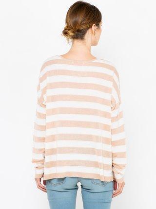 Bílo-růžový pruhovaný lehký svetr CAMAIEU