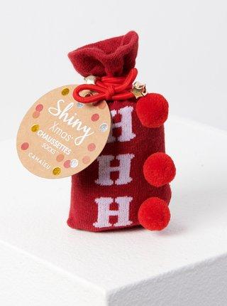Červené ponožky s vánočním motivem CAMAIEU