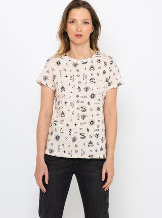 Krémové vzorované tričko CAMAIEU