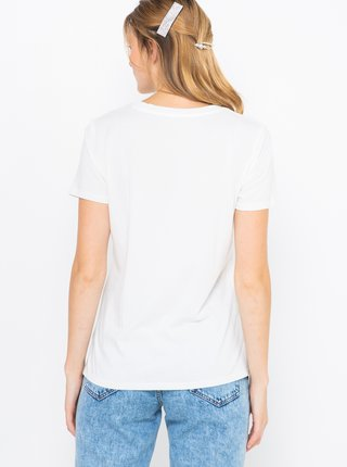 Biele tričko s nápisom CAMAIEU