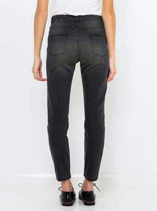 Tmavě šedé zkrácené slim fit džíny CAMAIEU