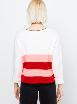 Červeno-biely pruhovaný sveter CAMAIEU