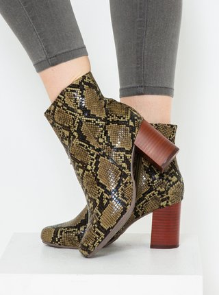 Zelené členkové topánky s hadím vzorom CAMAIEU