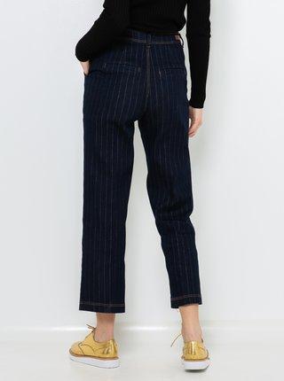 Tmavě modré pruhované straight fit džíny CAMAIEU