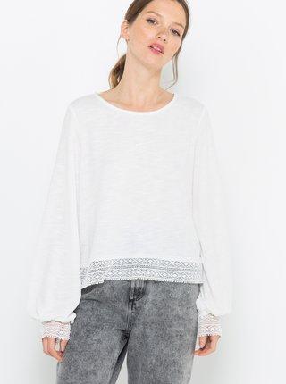 Biele tričko s ozdobnými lemami CAMAIEU