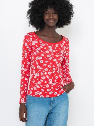 Červené kvetované tričko CAMAIEU