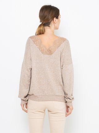Béžový sveter s véčkovým výstrihom CAMAIEU