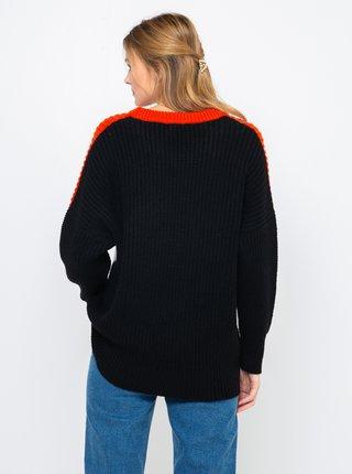 Červeno-čierny sveter CAMAIEU