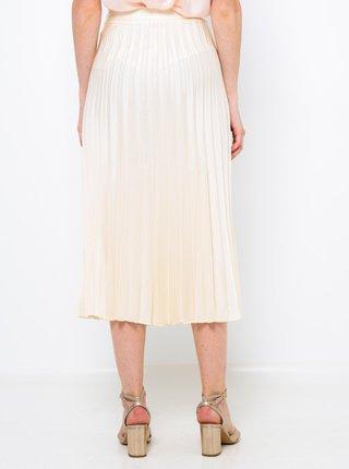 Krémová skladaná midi sukňa CAMAIEU