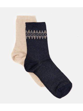 Čierno-béžové ponožky s prímesou kašmíru CAMAIEU
