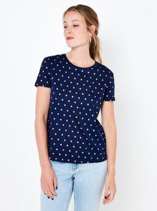Tmavě modré puntíkované tričko CAMAIEU