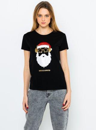Čierne tričko s vianočným motívom CAMAIEU