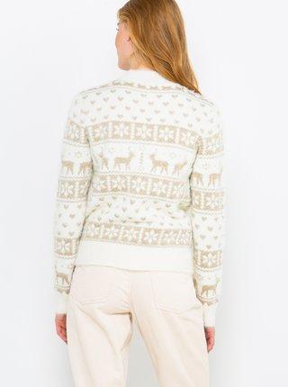 Bílý svetr s vánočním motivem CAMAIEU