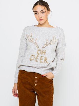 Svetlošedý sveter s vianočným motívom CAMAIEU