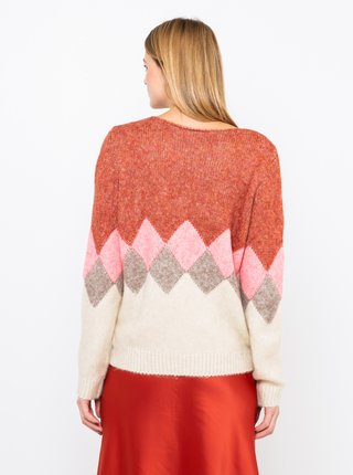 Bílo-oranžový svetr CAMAIEU
