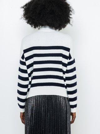 Čierno-biely pruhovaný sveter s prímesou vlny z Alpaky CAMAIEU
