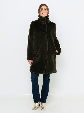 Zelený kabát z umělého kožíšku CAMAIEU
