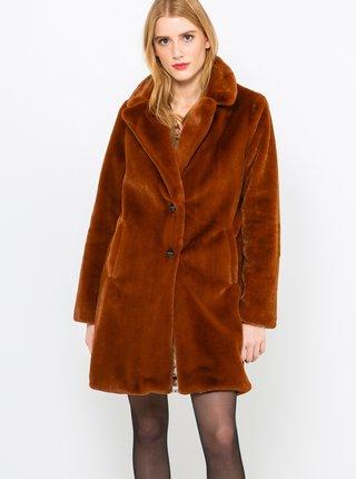 Hnědý kabát z umělého kožíšku CAMAIEU