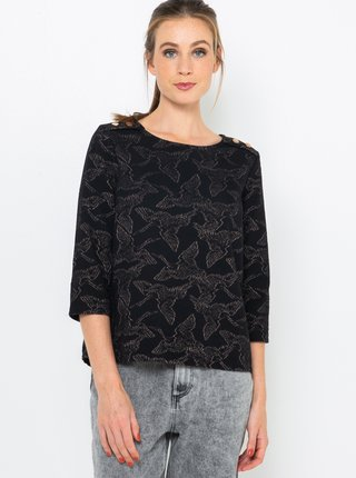 Černé vzorované tričko CAMAIEU