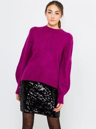 Fialový sveter s balonovým rukávom CAMAIEU