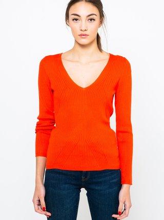 Oranžový svetr s véčkovým výstřihem CAMAIEU