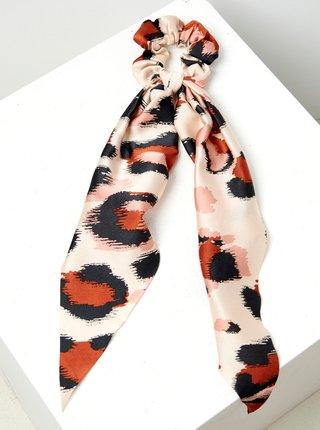 Krémová gumička s leopardím vzorem CAMAIEU