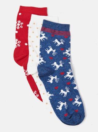 Sada tří párů ponožek v červené, bílé a modré barvě s vánočním motivem CAMAIEU