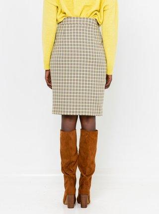 Krémová kockovaná sukňa CAMAIEU
