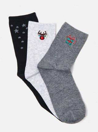 Sada tří párů ponožek v šedé, černé a bílé barvě s vánočním motivem CAMAIEU