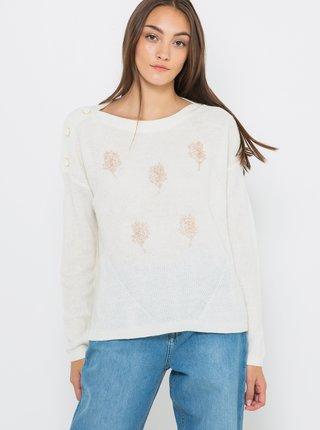 Biely ľahký sveter s prímesou vlny CAMAIEU