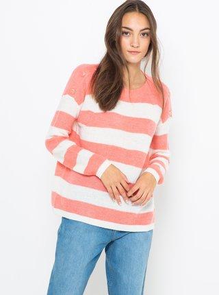 Ružovo-biely pruhovaný sveter s prímesou vlny CAMAIEU