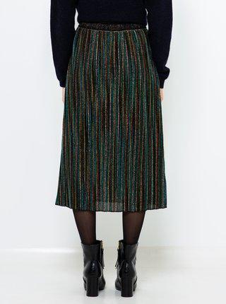 Tmavě zelená vzorovaná midi sukně CAMAIEU