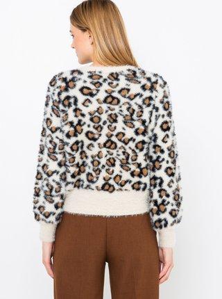 Krémový sveter s leopardím vzorom CAMAIEU