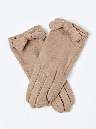 Béžové rukavice s mašľou CAMAIEU