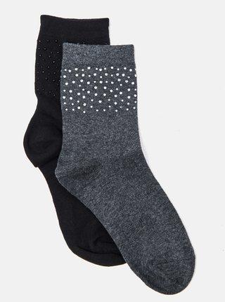 Sada dvoch párov ponožiek v šedej a čiernej farbe CAMAIEU
