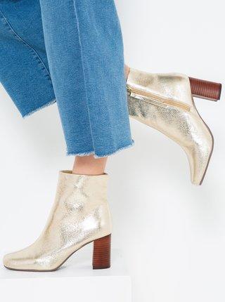 Kotníkové boty na podpatku ve zlaté barvě CAMAIEU