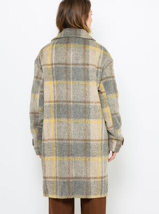 Šedý kostkovaný kabát s příměsí vlny CAMAIEU